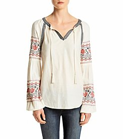 Ruff Hewn Tie Front Folkloric Embroidered Peasant Blouse