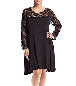 Lennie Plus Size Lace Yoke Trapeze Dress