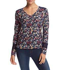 Ruff Hewn Petites' Floral Print Lace Shoulder Top