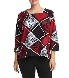 Alfred Dunner® Plus Size Wrap It Up Knit Printed Top