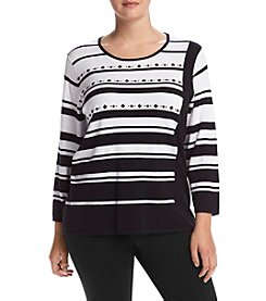 Alfred Dunner® Plus Size Wrap It Up Diagonal Stripe Sweater