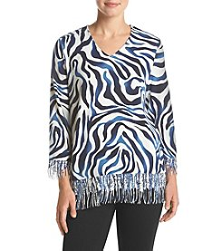 Alfred Dunner® Petites' Sierra Printed Sweater With Fringe