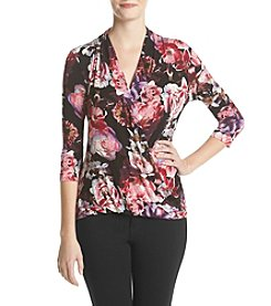 Ruff Hewn GREY Floral Print Surplice Top