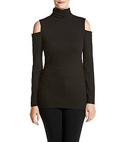 AGB® Ribbed Cold Shoulder Turtle Neck