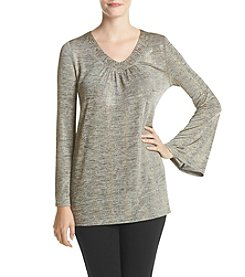 Oneworld® V-Neck Lurex Top