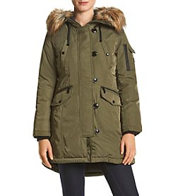 MICHAEL Michael Kors® Heavy Twill Faux Fur Trim Snorkel Coat