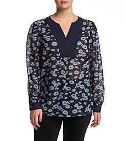 Jones New York® Plus Size Romantic Texture Print Top