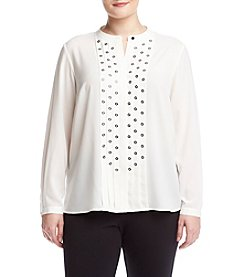 Jones New York® Plus Size Embellished Pleated Top