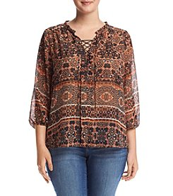 Democracy Plus Size Printed Peasant Top