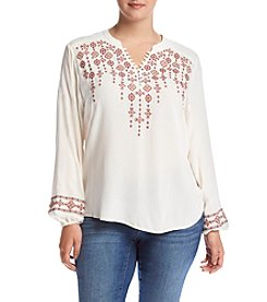 Democracy Plus Size Embroidered V-Neck Top