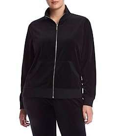 MICHAEL Michael Kors® Plus Size Zip Front Velour Jacket