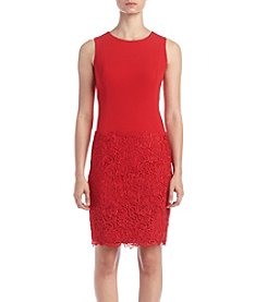 Calvin Klein Scuba Lace Hem Dress