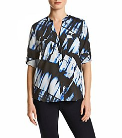 Calvin Klein Multi Print Roll Sleeve Top