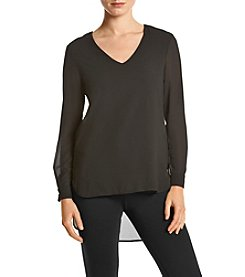 Joan Vass Solid V-Neck Top
