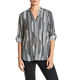 Joan Vass New York Printed Roll Tab Top