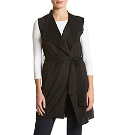 Joan Vass Faux Suede Vest With Belt
