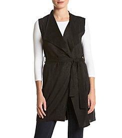 Joan Vass Faux Suede Vest With Belt