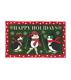 Essential Elements Happy Holidays Penguins Accent Rug