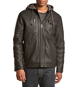 Sean John® Men's Faux Leather Jacket With Removable Hood
