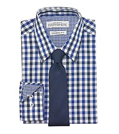 Nick Graham® Men's Blue Black Gingham Dress Shirt And Tie Set