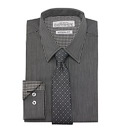 Nick Graham® Men's Black Grey Stripe Dress Shirt And Tie Set