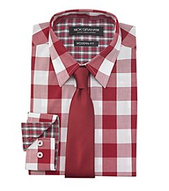 Nick Graham® Men's Red White Gingham Dress Shirt