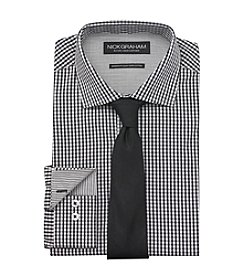 Nick Graham® Men's Black White Mini Check Dress Shirt