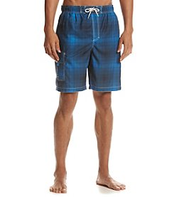 Paradise Collection® Men's Plaid Swim Trunks