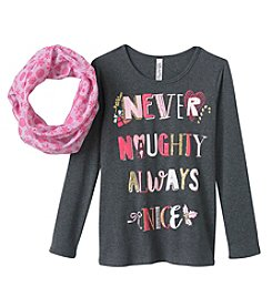 Beautees Girls' 7-16 Never Naughty Tee with Scarf