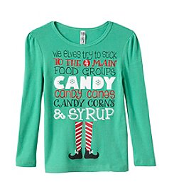 Beautees Girls' 4-6X Elf Food Groups Tee