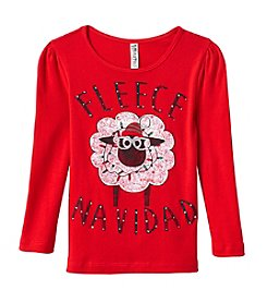 Beautees Girls' 4-6X Fleece Navidad Tee