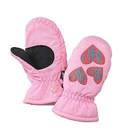 Mambo® Girls' 2T-4T Heart Print Ski Mittens