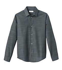 Calvin Klein Boys' 8-20 Long Sleeve Striped Dress Shirt