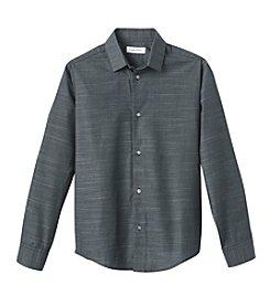 Calvin Klein Boys' 8-20 Long Sleeve Striped Dress Shirt