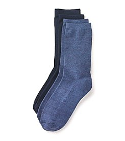 Relativity® 2 Pack Flat Knit Heathered Crew Sock