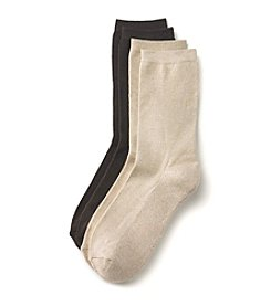 Relativity® 2-Pack Brown Flat Knit Crew Socks