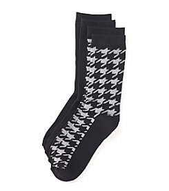 Relativity® 2 Pack Houndstooth Crew Socks