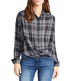 William Rast® Plaid Crossfront Blouse