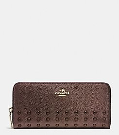 COACH DOUBLE ZIP ACCORDIAN WALLET IN POLISHED PEBBLE LEATHER