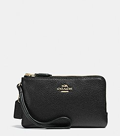 COACH DOUBLE CORNER ZIP WRISTLET IN PEBBLE LEATHER
