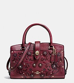 COACH WILLOW FLORAL MERCER SATCHEL 24 IN GRAIN LEATHER
