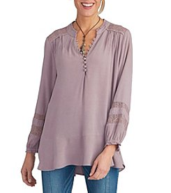 Democracy Button Front Blouse