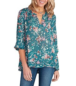 Democracy Smocked  Multi Floral Top