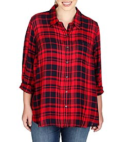Lucky Brand® Plus Size Plaid Roll Sleeve Top
