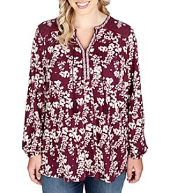 Lucky Brand® Plus Size Mixed Peasant Top