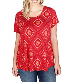 Lucky Brand® Plus Size Tile Print Tee