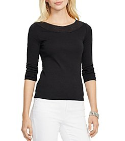 Lauren Ralph Lauren® Petites' Pointelle-Knit Cotton Top