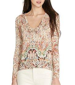 Lauren Ralph Lauren® Petites' Paisley-Print V-Neck Sweater