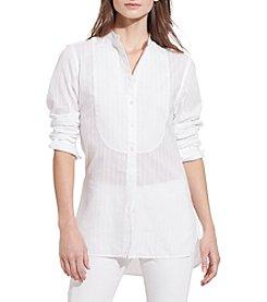 Lauren Ralph Lauren® Petites' Striped Bib-Front Shirt