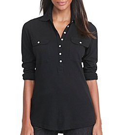 Lauren Ralph Lauren® Ribbed-Panel Cotton Shirt